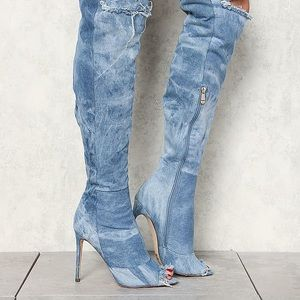 Distressed Denim Stiletto over the knee boots